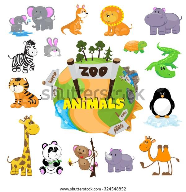 Cute Zoo Animals Stock Vector (Royalty Free) 324548852