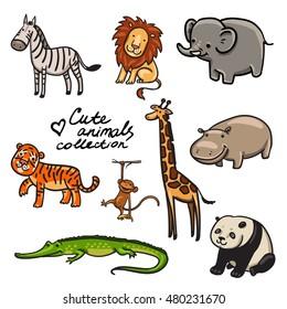 cute zoo animals collection. funny cartoon animals. zebra, monkey, lion, tiger, crocodile, elephant, giraffe, hippopotamus, panda. vector illustration