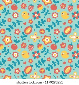Cute_pattern with bird, flower, plant, leaf, berry, cherry, strawberry