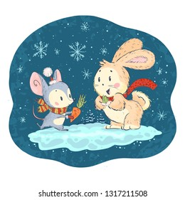 Cuter vector illustration with cute little mouse and bunny characters on snowy winter background celebrating. Hand drawn style. Funny animals for children books, prints, clothes, nursery, interiors.