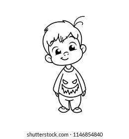 Cutest kid in haloween blouse. Illustration isolated on white background. Design element for print, t-shirt, poster, card, banner. Vector illustration. Coloring page