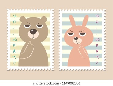 Cutie stamps bear and bunny cartoon vector illustration. Cute pastel stamps vector. Edgy bear. Edgy bunny.