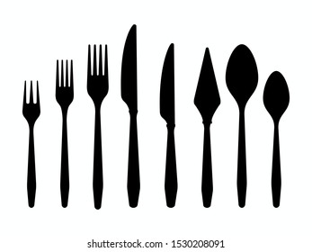 Cutlery black silhouettes knives forks spoons isolated on white background