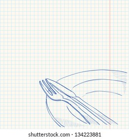 Cutlery Drawing - Cutlery and plate as a blue sketch on paper