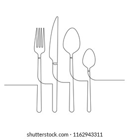 Cutlery drawn by a single black line on a white background. Continuous line drawing. Vector illustration