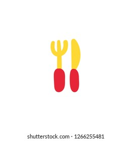 Cutlery flat color illustration. Plastic knife and fork. Catering hand drawn design element