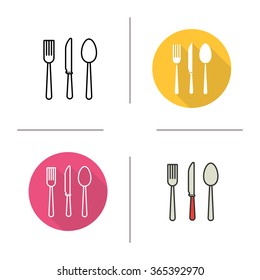 Cutlery flat design, linear and color icons set. Fork, spoon and knife. Kitchen tools. Restaurant equipment. Cuisine instruments. Contour and long shadow logo concepts. Isolated vector illustrations