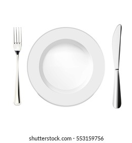 Cutlery fork, plate and knife vector illustration.