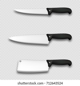 Cutlery icon set - vector realistic diffrent kitchen knives closeup isolated on transparent background. Design template for branding, mockup. EPS10 stock vector.