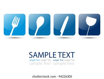 Cutlery icons blue