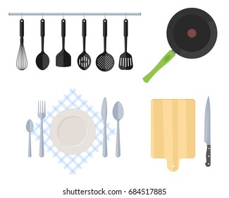 Cutlery, kitchen steel utensils and kitchenware set.  Flat vector illustration of cooking tools. Frying pan, slotted spatula, whisk, strainer, fork, spoon, table-knife, wooden cutting board and knife.