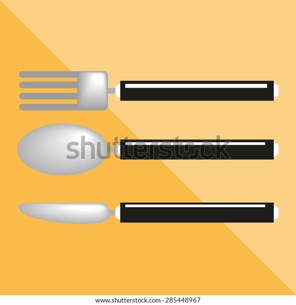Cutlery Kitchen Utensils Equipment Vector Icon Stock Vector