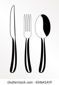 Cutlery - knife, fork and spoon menu vector icon
