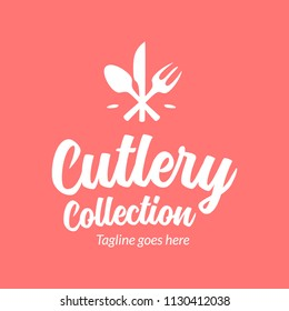 Cutlery logo template. Abstract fork, spoon, and knife in flat fun style logo. Can use for cafe and restaurant