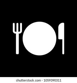 cutlery. plate fork and knife icon. White icon on black background. Inversion