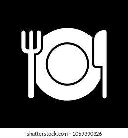 cutlery. plate fork and knife. simple silhouette. White icon on black background. Inversion