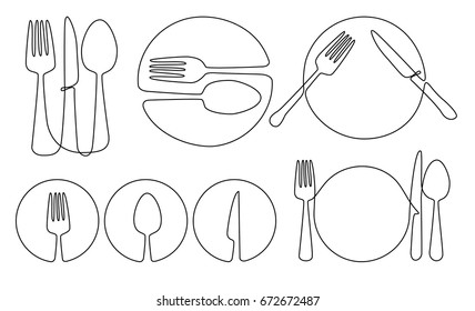 Cutlery and plate one line drawing