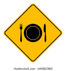 Cutlery and road sign on white