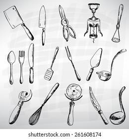 Cutlery set black. Sketch converted to vectors.
