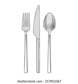 Cutlery set of fork, knife and spoon isolated on a white background. Hand drawn color line art. Cookware retro design. Vector illustration.