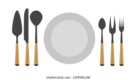 Cutlery set icon dishware tool equipment design symbol. Decoration serving fork shiny sign.  Clean luxury spoon utensils isolated collection ware. Filled silverware home vector plate. Flatware food.