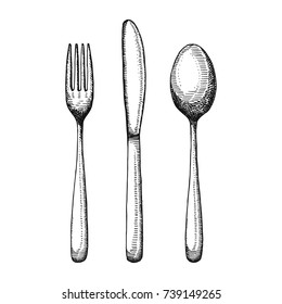 cutlery set sketch. Spoon fork and knife vector. illustration isolated