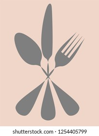 Cutlery set vector illustration. Knife, fork and spoon silhouette icon.