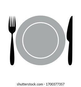 Cutlery sign or symbol. Vector design isolated on white background. Fork knife and plate icon.