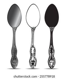 Cutlery, silver spoon set. Vector illustration.