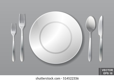 Cutlery. Spoon, fork, knife and plate. Serving. Preparing for dinner. Realistic.