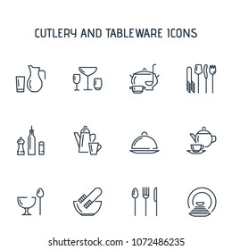 Cutlery and tableware icons.