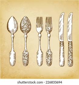 cutlery, vector hand drawing