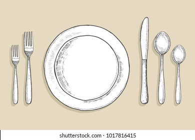 cutlery vector set. flatware table setting