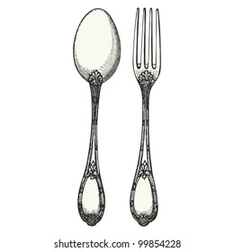 Cutlery - vintage engraved illustration - Catalog of a French department store - Paris 1909