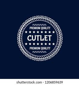 cutlet premium quality badge. premium quality package label. vintage stamp. designed for butcher shop