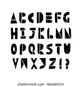 Cut-out alphabet, printmaking lino-cut vector elements on grunge textured background. Latin hand-lettering letters