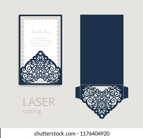 Cutout folding envelope for wedding invitation card with lace border ornament. Vector template for laser cutting. Place for text.