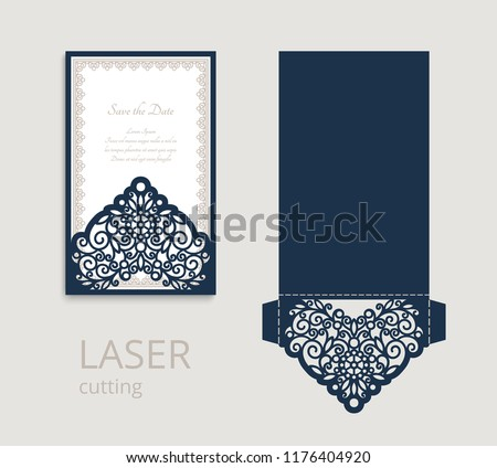 Cutout Folding Envelope For Wedding Invitation Card With Lace Border Ornament Vector Template Laser