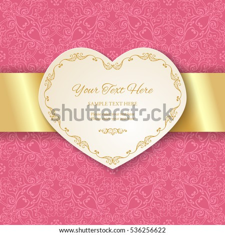 Cutout Heart Shaped Frame On Seamless Ornamental Pink Background Paper Cut 3d With Golden