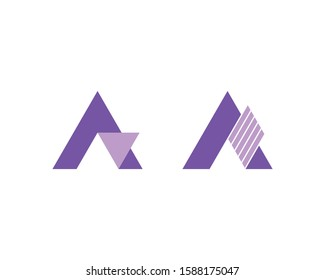 Cutout letter A logo templates on white background. Abstract logo designs.