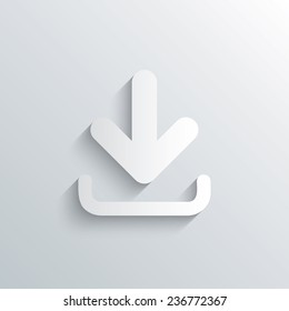 Cutout paper background. Download icon. Upload button. Load symbol. White poster with icon. Vector