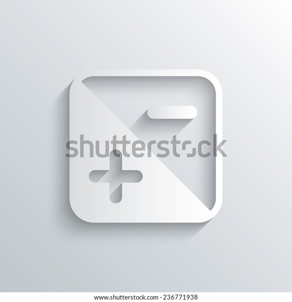 Cutout paper background. Exposure photo camera sign icon. Quantity of light settings. White poster with icon. Vector