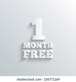 Cutout paper background. First month free sign icon. Special offer symbol. White poster with icon. Vector
