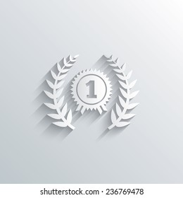 Cutout paper background. First place award sign icon. Prize for winner symbol. Laurel Wreath. White poster with icon. Vector