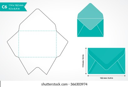 Cutout paper envelope template. Perfect for making your own envelopes of standard c6 size for a6 size card.
