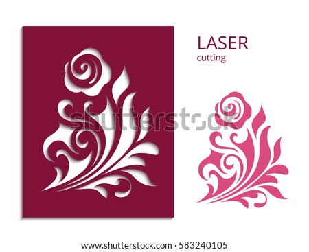 Cutout Paper Flower Vector Rose Silhouette Stock Vector Royalty