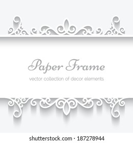 Cutout paper frame, divider, header on white background, vector eps10