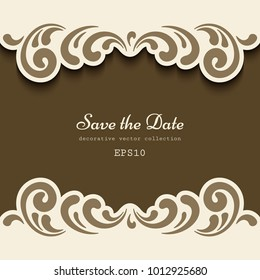 Cutout paper frame with ornamental floral border pattern, laser cut vignette, elegant decoration for save the date card or wedding invitation template, vector eps10