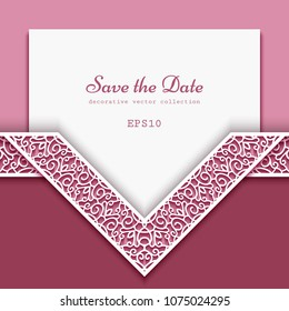 Cutout paper frame with ornamental lace border pattern, elegant vector decoration for wedding invitation or save the date card design, template for laser cutting, eps10