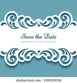 Cutout paper frame with swirly lace borders. Vector template for laser cutting or plotter printing. Elegant decoration for wedding invitation or save the date card design. Place for text.